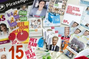 RIJSWIJK - Een verzameling van campagne materiaal van de diverse politieke partijen. ANP  XTRA LEX VAN LIESHOUT
